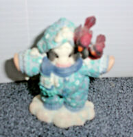 """Mary's Moo Moos Cow In Snowsuit Figurine Enesco 3"""" x 2"""" No Tags 1998 Pre-owned"""
