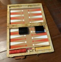 Vintage Backgammon Set with Red & Butterscotch Swirl Crisloid Bakelite Pieces