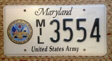 MARYLAND MILITARY U.S. UNITED STATES ARMY LICENSE PLATE AUTO TAG & SEAL SHIELD