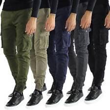 Pantaloni Cargo Uomo Tasche Laterali Invernali Cotone Slim Fit Tasconi Casual