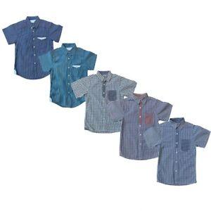 Boys Kids Short Sleeve Casual Shirt Cotton Smart Summer Checked Striped