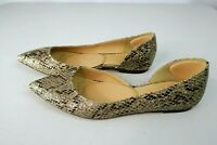 J Crew Audrey Glitter Flats Snakeskin Printed Leather Brown Gold sz 6 $138