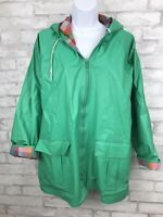 Vintage Misty Harbor Women's Green and Plaid Outdoor PVC Rain Jacket Size Large