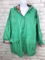 Vintage Misty Harbor Women's Green and Plaid Outdoor PVC Rain Jacket Size Large
