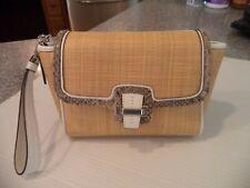 NWOT Coach Taylor City Natural Sraw Python Leather Large Flap Wristlet Bag