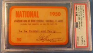 1950 Mickey Mantle PSA Ticket Pass NAPBL/Minor League/26 HR/.383 BA/Age 18/ N Y