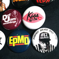"11 Old School Hip Hop 1"" Buttons - Run-Dmc Ll Cool J Salt-n-Pepa Biz Markie Rap"