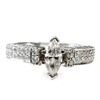 18k White Gold 1.00 Carat Marquise Diamond Vintage Engagement Ring