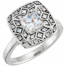 1.01 carat Princess cut Diamond GIA E color VS1 14k White Gold Ring 1.14 ct