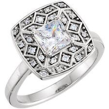 1.01 carat Princess cut Diamond GIA E color VS1 14k White Gold Ring 1.14 ct
