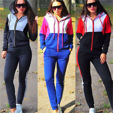 Women 2Pcs Set Casual Running Tracksuit Hoodie Zip Up Jacket + Pants Sports Wear