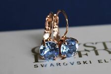Rose Gold Plated Light Sapphire Leverback Earrings-Swarovski Crystal Element
