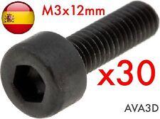 30 X Tornillos Métrica 3 M3 X 12 Mm M3x12mm Allen Prusa Steel Rostock Reprap Rc