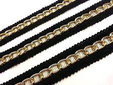 1m x 25mm Wide GOLD Chain Woven Black Lace Trim Ribbon, DIY Fashion GOTH PUNK