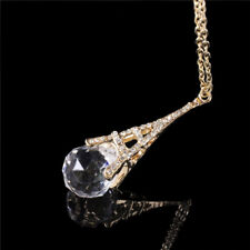 Women Paris Eiffel Tower Transparent Clear Crystal Ball Pendant Long Necklace EP