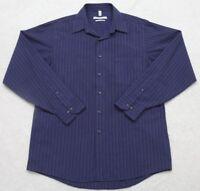 Geoffrey Beene Dress Shirt 16 34/35 Blue Striped Long Sleeve Wrinkle Free Mens