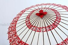 Japanese umbrella bull's-eye Bangasa Wagasa bamboo sd arabesque design red