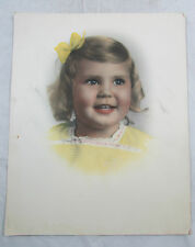 Vtg Color Young Girl Child Portrait Tinted BW Photograph 1950s