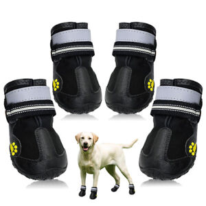 Reflective Dog Shoes for Large Dogs Waterproof Rubber Rain Snow Boots Anti-slip