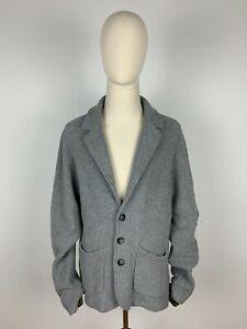 ENGBERS Stricksakko Woll Jackett Jacke Woolen Knit Jacket Coat Grau Grey 56 XXL