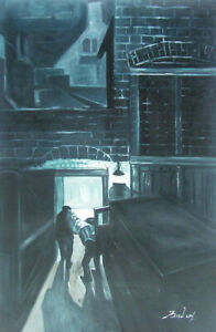 DELIVERIES IN THE REAR OF NIGHT GALLERY HAND OIL PAINTING