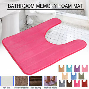 Anti- Slip Memory Foam Bath Pedestal Mat Toilet Soft Bathroom U Shaped Rug Pads