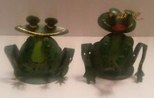 Miniature Frog Tealight Candle Holders - Venice Stationers Metal 2 pair NEW