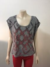 "pre-loved ""Valleygirl"" thin grey red geometric pattern loose tshirt sz S"