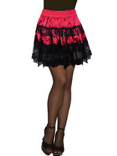 Altnoir Red And Black Satin & Lace Tiered Tutu Skirt - Onesize