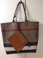 Burberry tan brown leather house check canvas reversible bag tote XL shopper