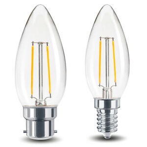 2W LED Candle Light Bulb B22 or E14 Clear Replacement for 20W Halogen Lamps