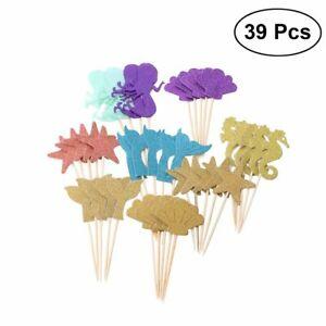 39 Mermaid Cupcake Toppers Glittery Shells, Mermaids, Tails, Starfish, Seahorse