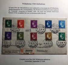 1940 Amsterdam Netherlands Cover Locally Used Wilhelmina Definitive Stamps Issue