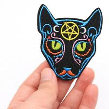 Egyptian cat Iron on patch - star purr cute moon gothic cats kitten pet patches