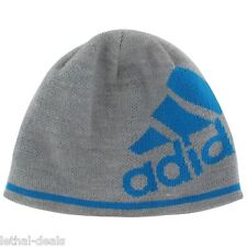 ADIDAS Glencoe Beanie Winter Hat Climawarm Grey Blue Lined Comfort Warmth  NEW