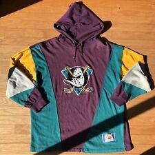 RARE Mighty Ducks Anaheim Vintage Slap Shot NHL Colorblocked Hoodie