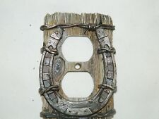 Western Horse Shoe Barb Wire Electric Double Outlet Wall Plate Cover~New