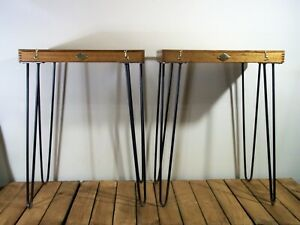 Pair Unique UpCycled Vintage Rustic Industrial Occasional/ Bedside/Coffee Tables