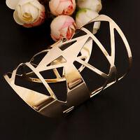 Fashion Women Gold Hollow Geometric Punk Cuff Bangle Unisex Wide Bracelet Gift