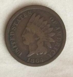 Full Rim Good + 1864 Bronze Civil War Date Indian Head Cent Free USA Shipping