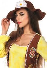 década de los 70 Años Hippie Sombrero de ala ancha con la flor NUEVO - Carnaval