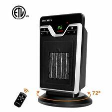 1500W Oscillating Ceramic Heater Tower with Remote Control & Overheat Protection