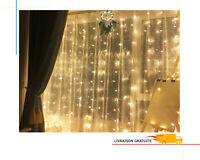 Guirlande Lumineuse Interieur 3M Rideau Murale LED 8 Mode Etanche + Telecommande