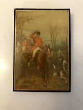 """Antique Fox Hunting Wall Plaque 3""""x4.5"""""""