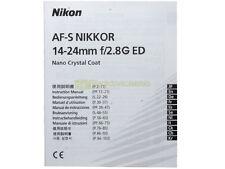 Manuale cartaceo originale x Nikon AF-S Nikkor 14/24mm f2,8 G ED