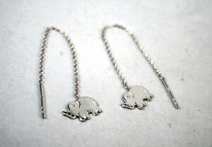 Sterling Silver Elephant Threader Earrings