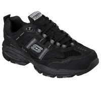 Skechers Shoes Black EW Wide Width 51241 Men Memory Foam Sport Comfort Work Lace