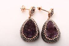 Turkish Handmade Natural Purple Druzy Swarovski 925 Sterling Silver Earrings