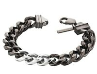 Police Chrome Men's Black and Silver Stainless Steel Bracelet 25685BSU/03-L