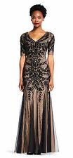 Adrianna Papell BLACK Size 6 Floral Beaded Gown Godets Short Sleeve  NWT $409